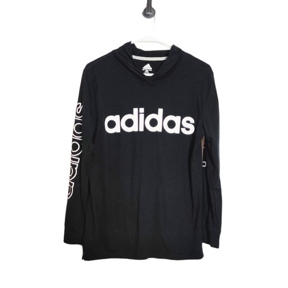 Adidas Black Long Sleeve Shirt Logo Hooded Size L